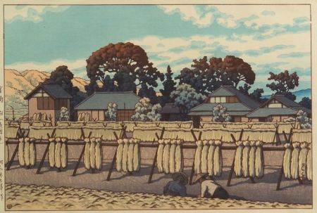 Hasui: Farming Village with Racks of Bundled Straw