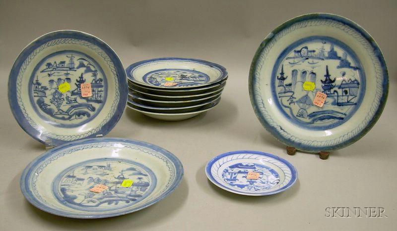 Ten Canton Porcelain Plates
