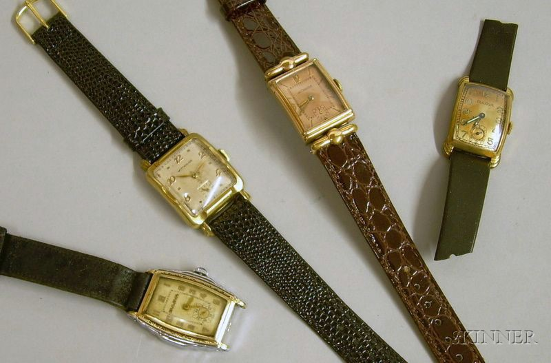 Four Art Deco Gold-filled 17-jewel Man's Wristwatches