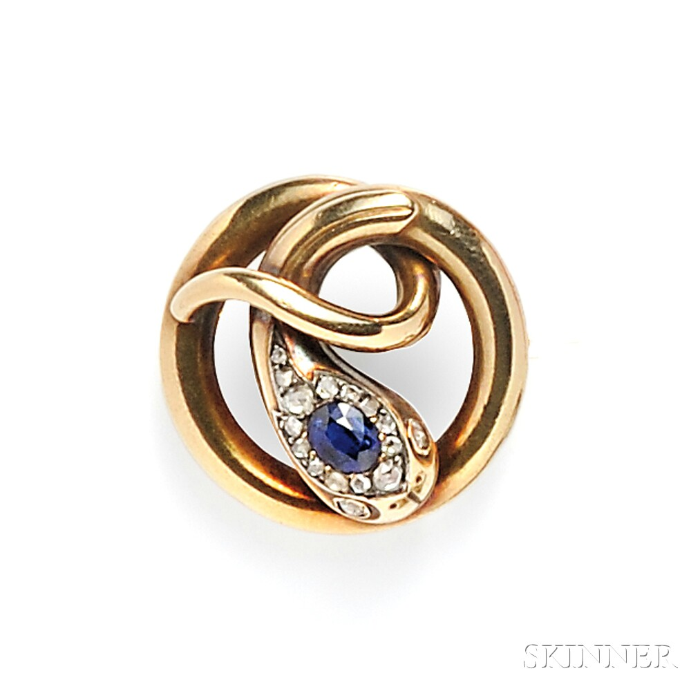 Antique Gold, Sapphire, and Diamond Brooch