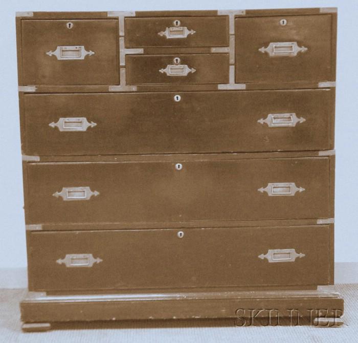 British Brass-bound Rosewood Veneer Seven-drawer Campaign Chest
