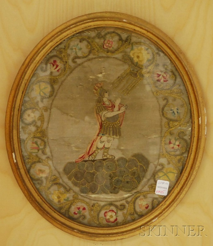 Oval Framed English Needlework Depicting a Roman Soldier