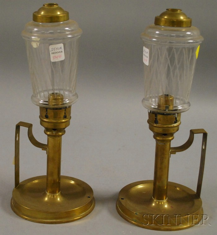 Pair of Brass Bracket Candleholders with Etched Colorless Glass Shades