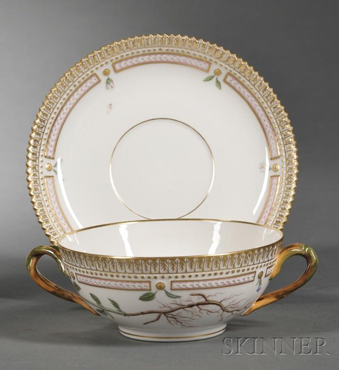 """Set of Twelve Royal Copenhagen Porcelain """"Flora Danica"""" Bouillon Bowls and Saucers"""