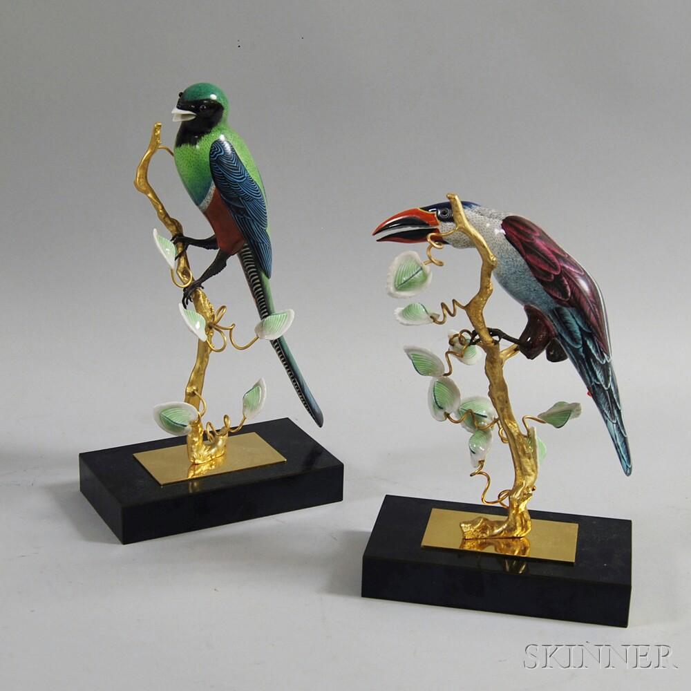Pair of Modern Italian Porcelain Tropical Bird Sculptures