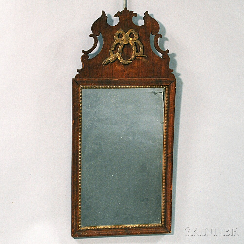 "Chippendale Carved Mahogany Veneer ""Cape Cod"" Mirror"