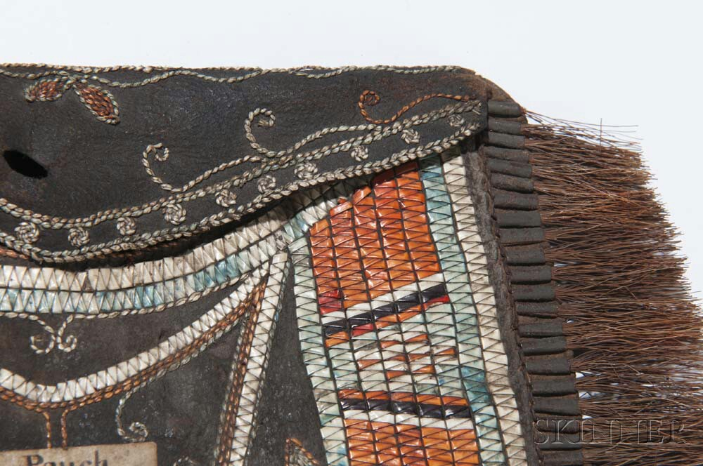 Huron Quilled Hide Pouch