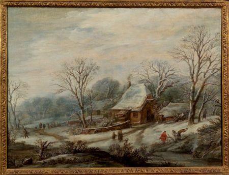 Dutch School, 17th Century Style    The Bustling Village in Winter