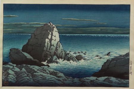Hasui: Moonlit View of a Rocky Coast