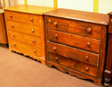 Two Late Victorian Cottage Pine Four-Drawer Chests.