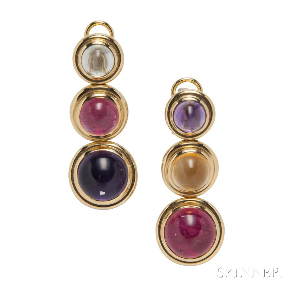18kt Gold Gem-set Earrings, Paloma Picasso for Tiffany & Co.