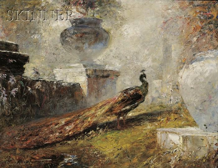 Douglas Arthur Teed  (American, 1864-1929)      Peacock Among Garden Urns