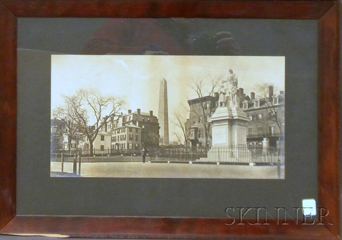 Framed 19th/20th Century Albumen Photograph of a Charlestown, Massachusetts,   Square with the Bunker Hill Monument