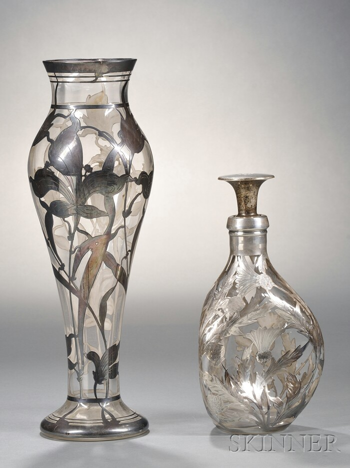 English Sterling Silver Overlaid Colorless Glass Vase and Decanter