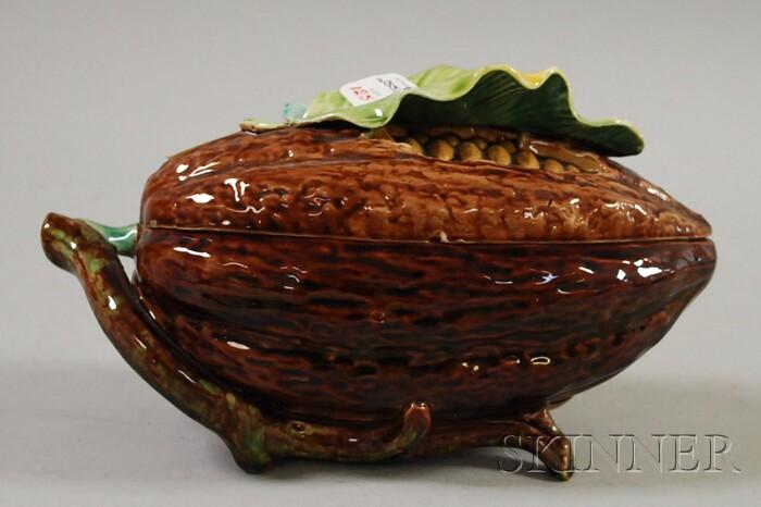 Majolica Melon-form Figural Covered Dish