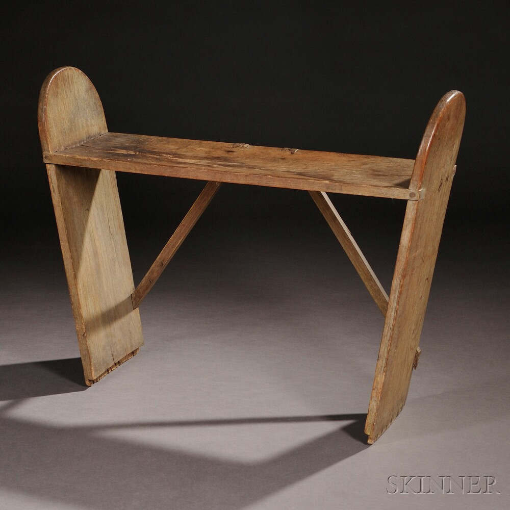 Shaker Painted Oak Sleigh Bench