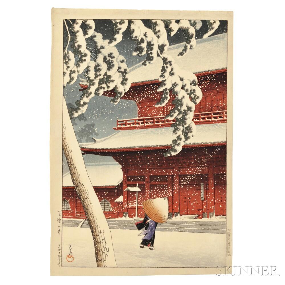 Kawase Hasui (1883-1957), Snow at Zojoji Temple, Shiba