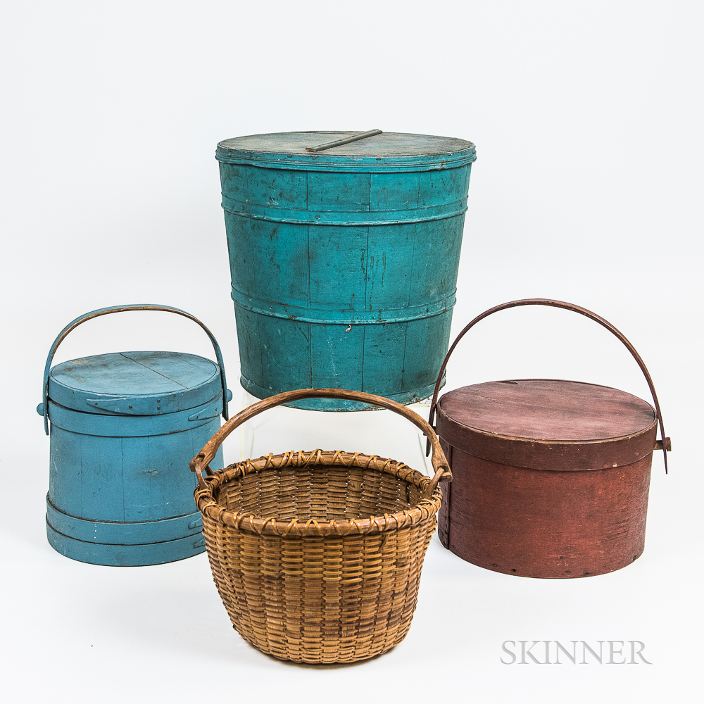 Blue-painted Firkin and Bucket, Red-painted Pantry Box, and a Swing-handled Basket