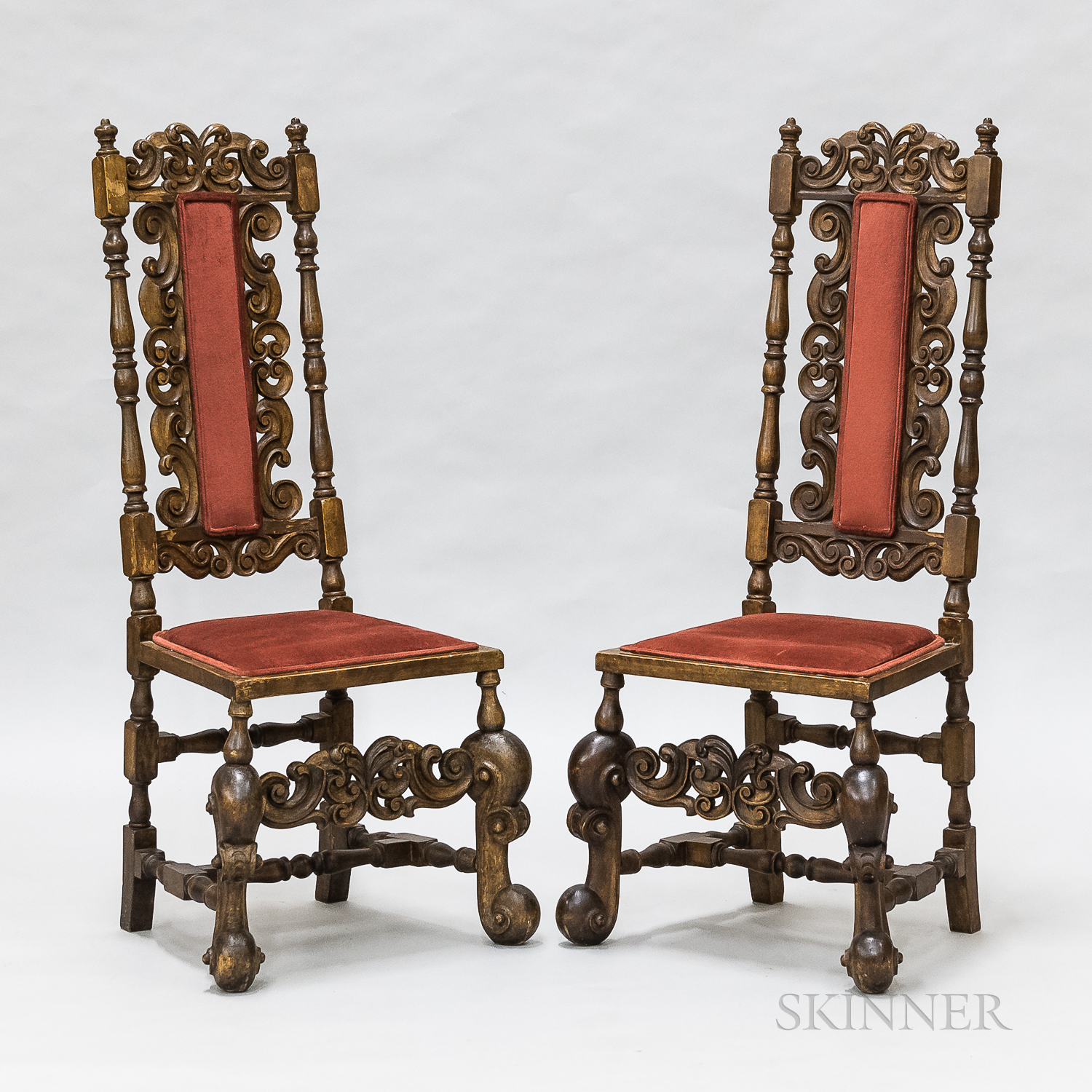 Pair of Baroque-style Carved and Upholstered Walnut Side Chairs