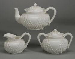 LotusWare White Glazed Porcelain Three Piece Teaset