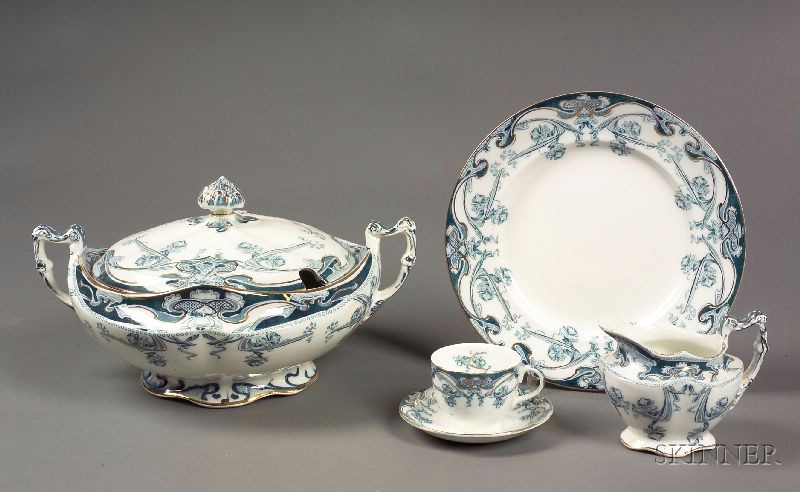"""Royal Staffordshire Pottery """"Iris"""" Pattern Partial Dinner Service"""