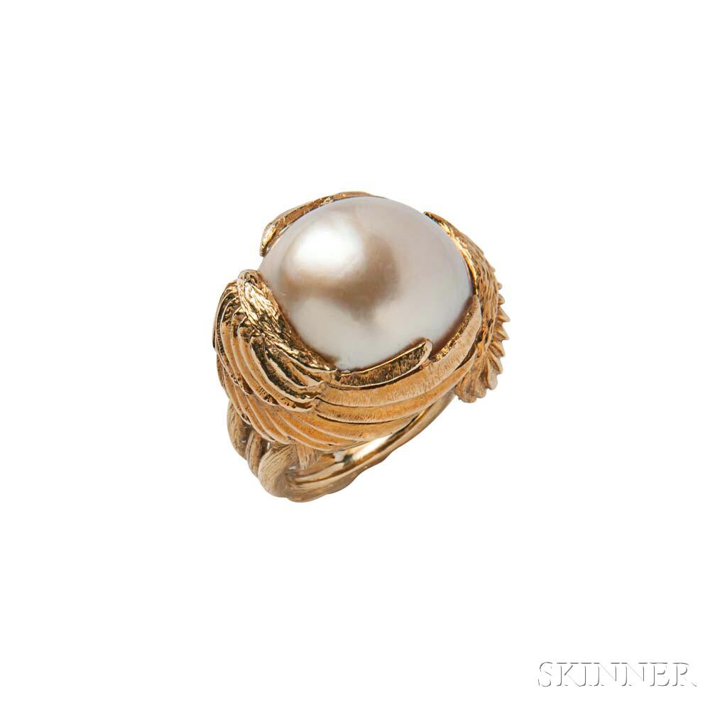 18kt Gold and Mabe Pearl Ring, David Webb