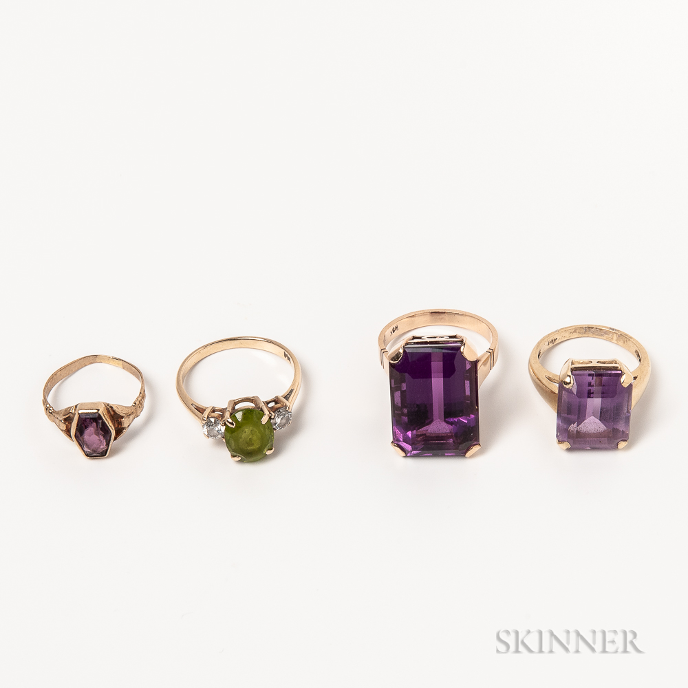 Four Gold Gem-set Rings