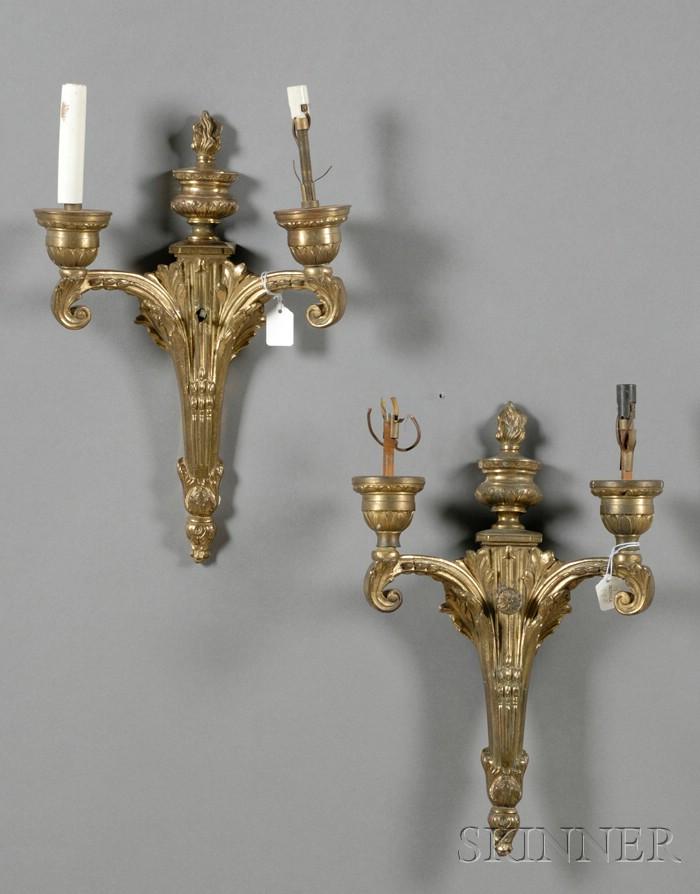 Set of Three Louis XVI Style Gilt-metal Two-light Wall Sconces