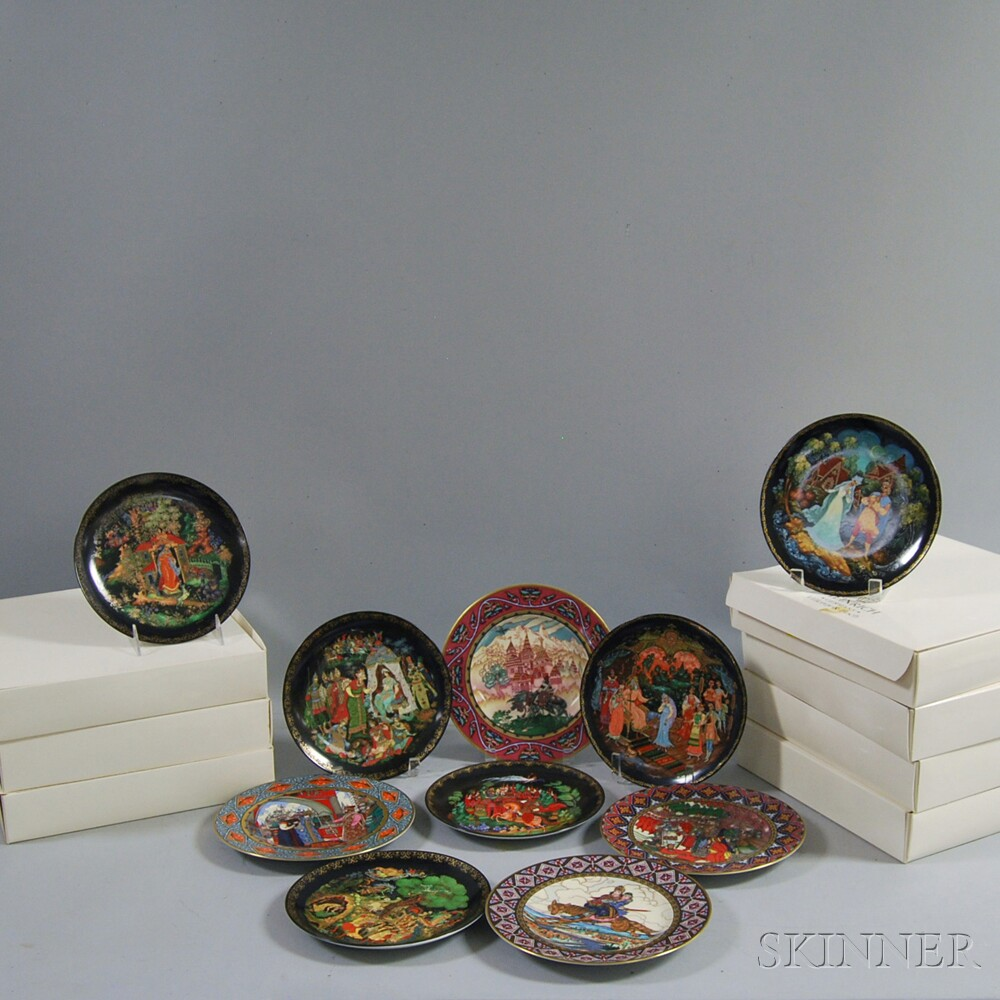 """Ten Heinrich Villeroy & Boch """"The Russian Fairy Tales"""" Collectible Plates"""