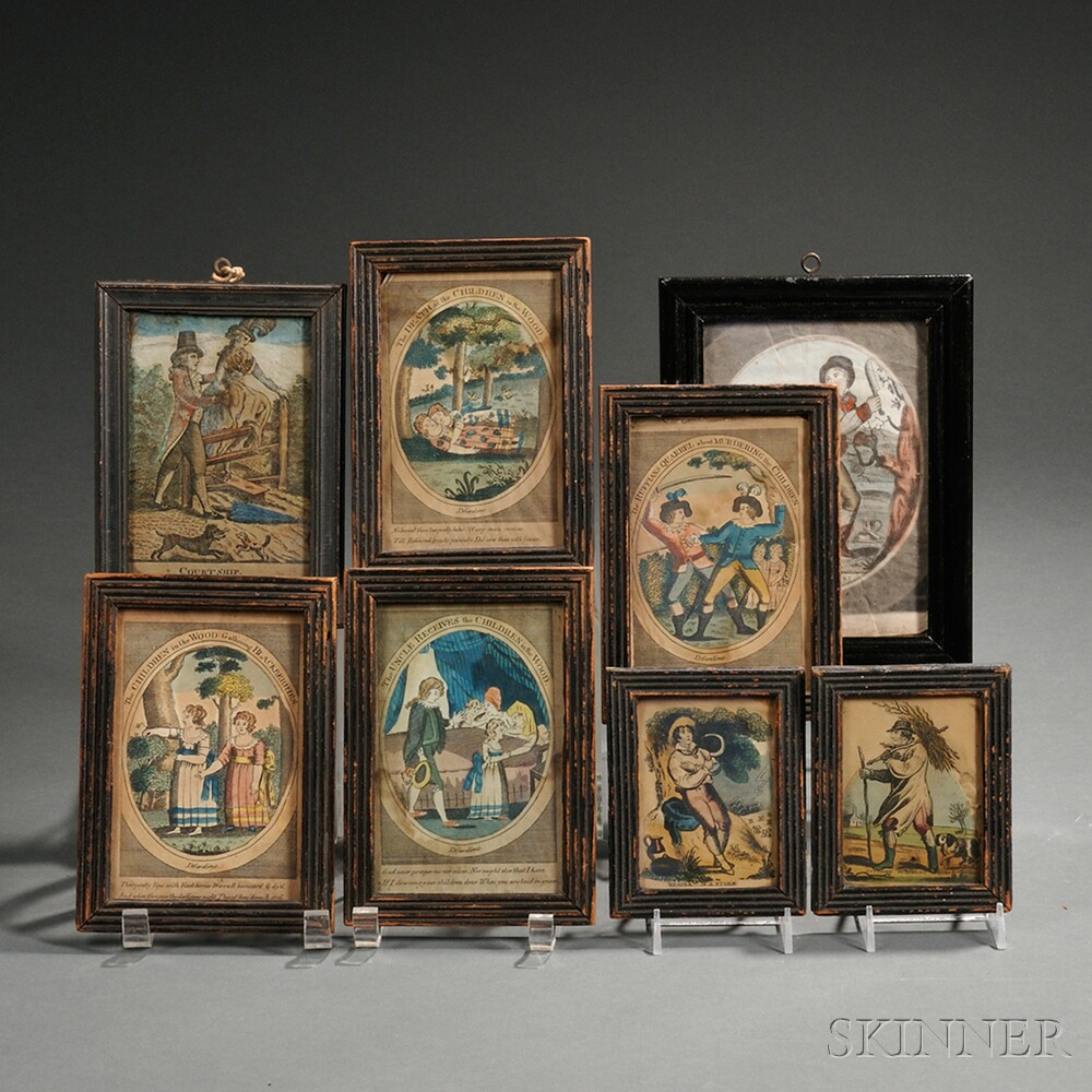 Eight Black-painted Frames with Early Prints