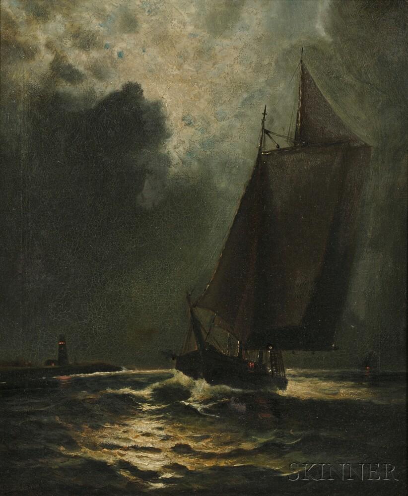 Wesley Elbridge Webber (American, 1841-1914)      Moonlit Sail with Distant Lighthouse
