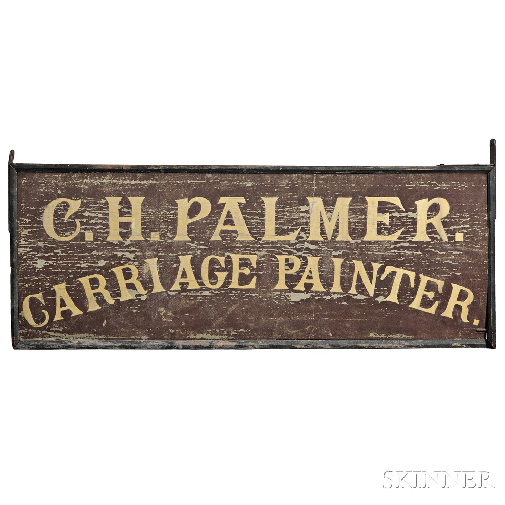 """Painted """"C.H. PALMER. CARRIAGE PAINTER."""" Trade Sign"""