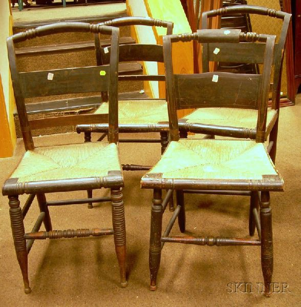Four Painted and Stencil-decorated Fancy Side Chairs with Woven Rush Seats.