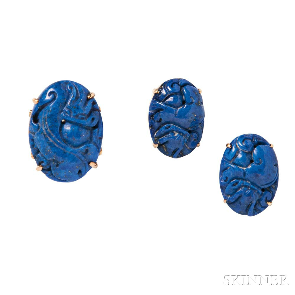 14kt Gold and Carved Lapis Ring and Earrings