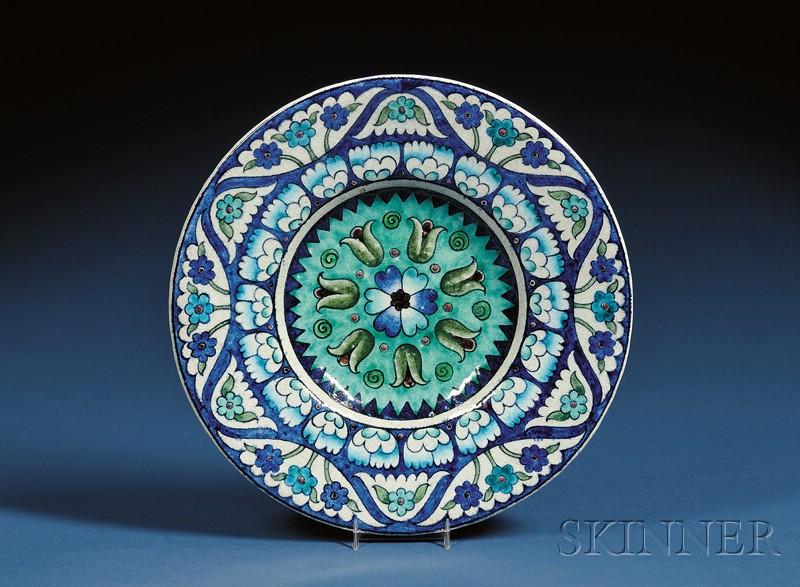 William DeMorgan Persian-Style Pottery Deep Dish