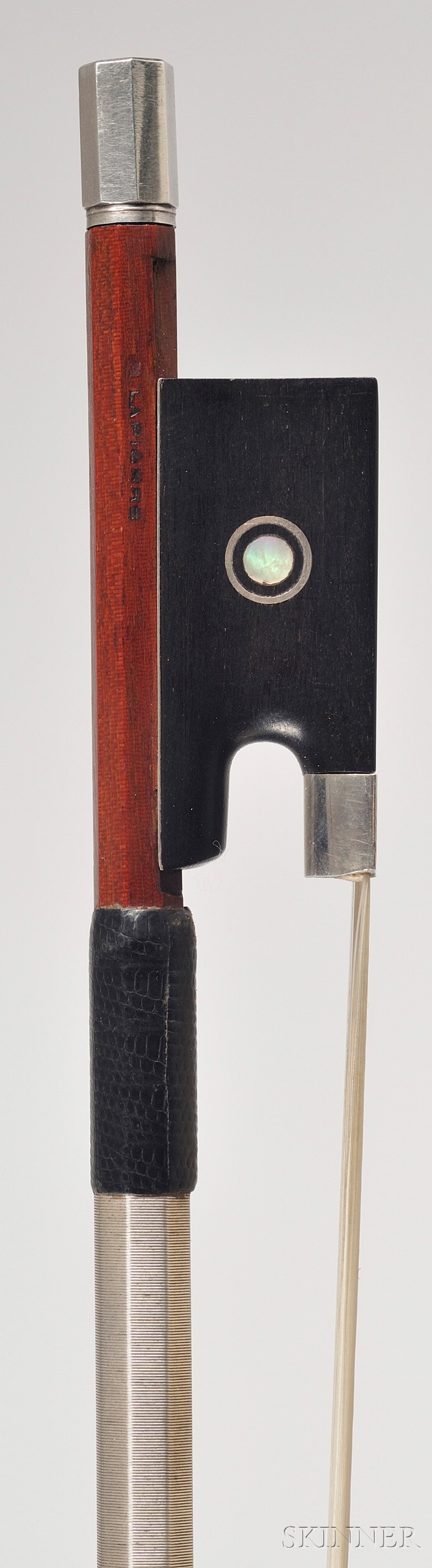 French Silver Mounted Violin Bow, Marcel Lapierre