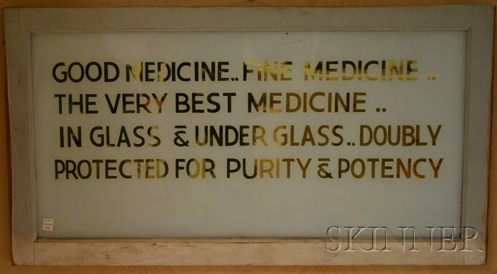 Painted and Gilded Glass Pharmacy Sign