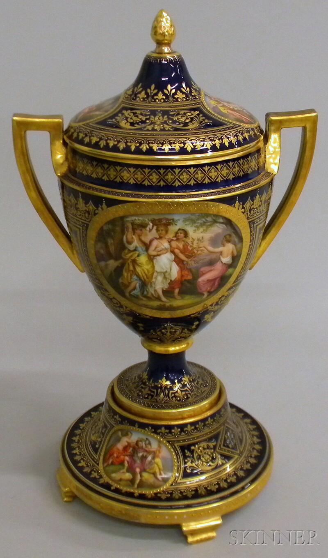 Austrian Gilt and Hand-painted Genre Scene-decorated Cobalt Glazed Porcelain Covered   Vase on Stand