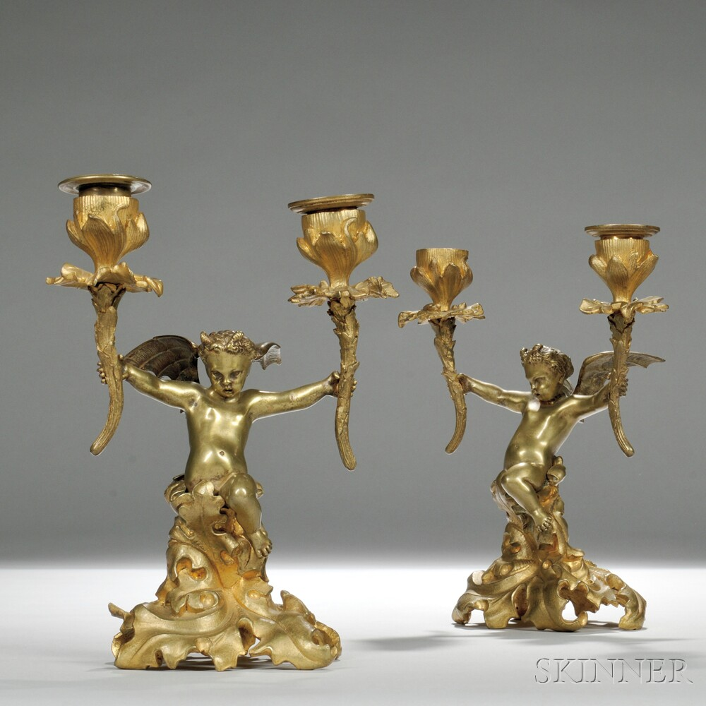 Pair of French 19th Century Gilt-bronze Figural Two-light Candlesticks
