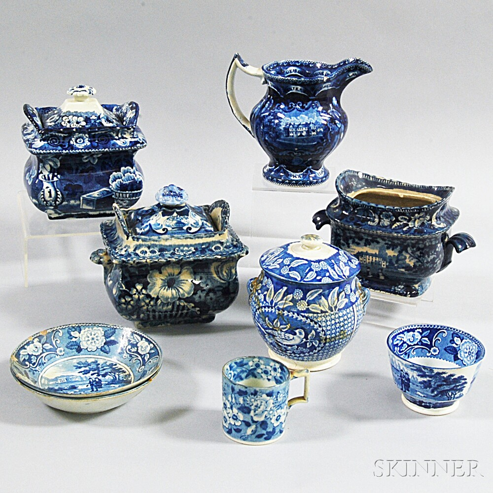 Nine Blue Transfer-decorated Tableware Items