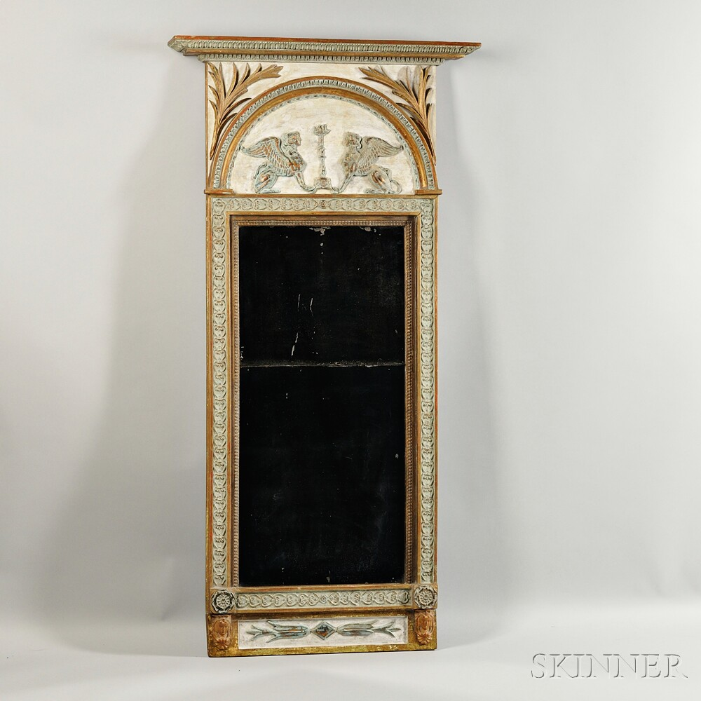 Neoclassical Painted and Parcel-gilt Mirror