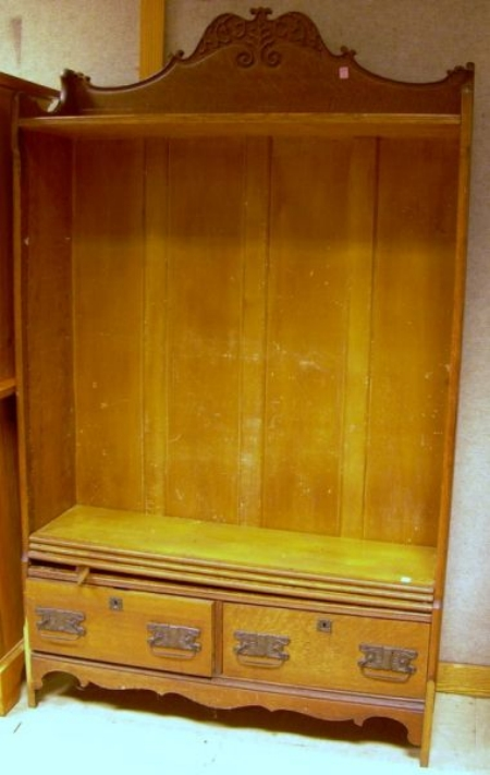 Late Victorian Pressed Oak Open Bookcase over Two Short Drawers