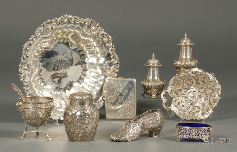 Ten Repousse and Chased Sterling Silver Articles