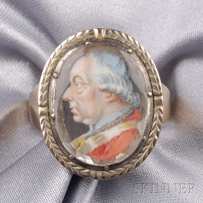 Antique 14kt Gold, Rock Crystal, and Ivory Portrait Ring