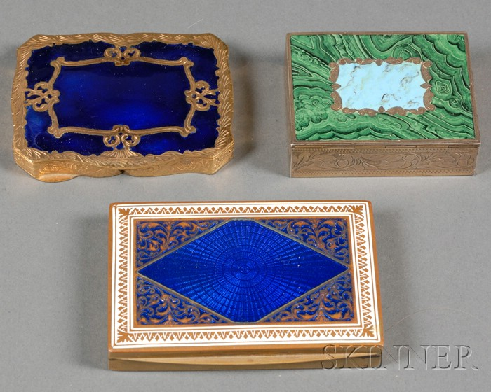 Three Continental Enameled Boxes
