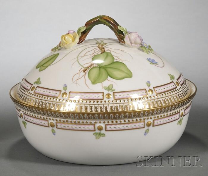"Royal Copenhagen Porcelain ""Flora Danica"" Covered Serving Bowl"