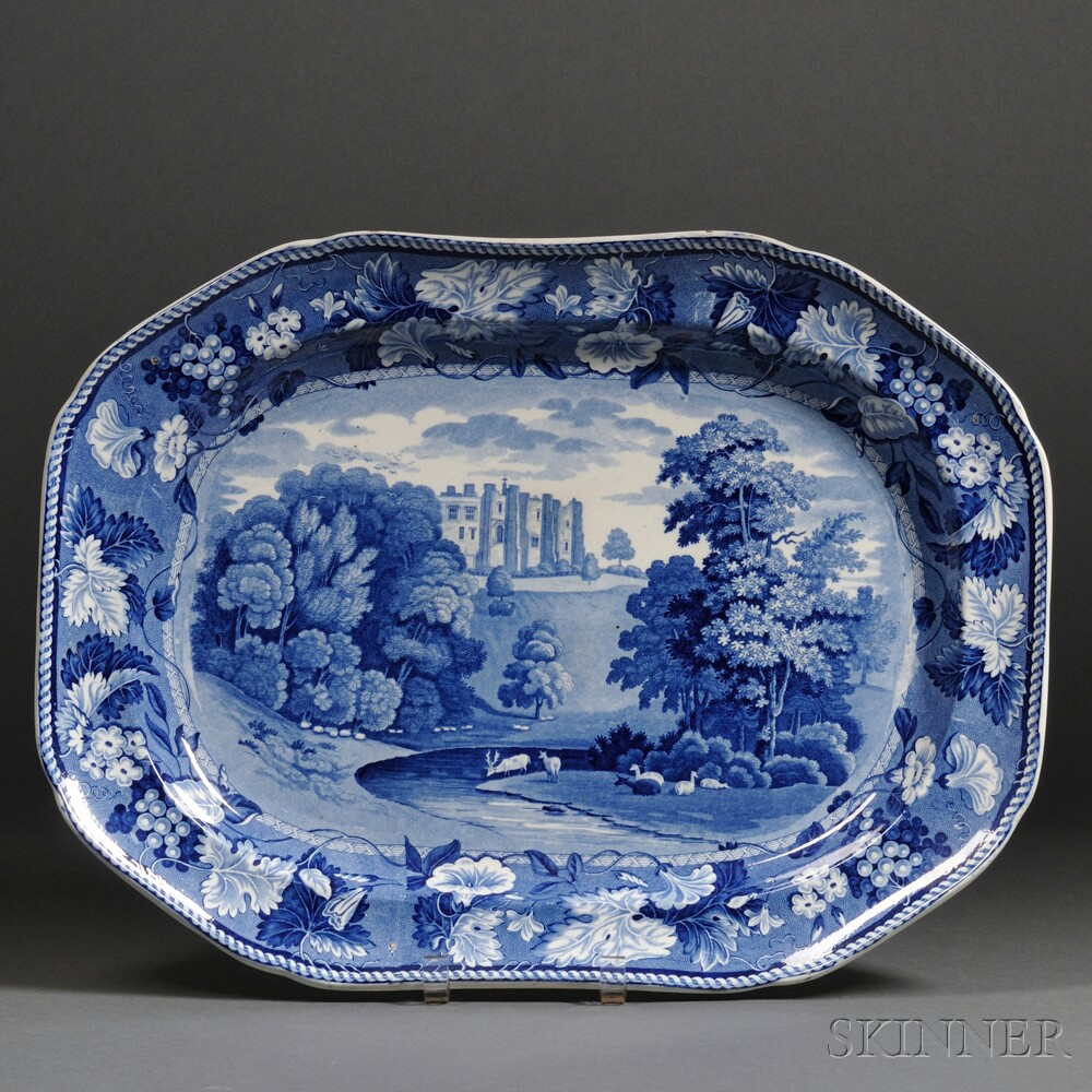 Large Blue Transfer-decorated Staffordshire Pottery Platter