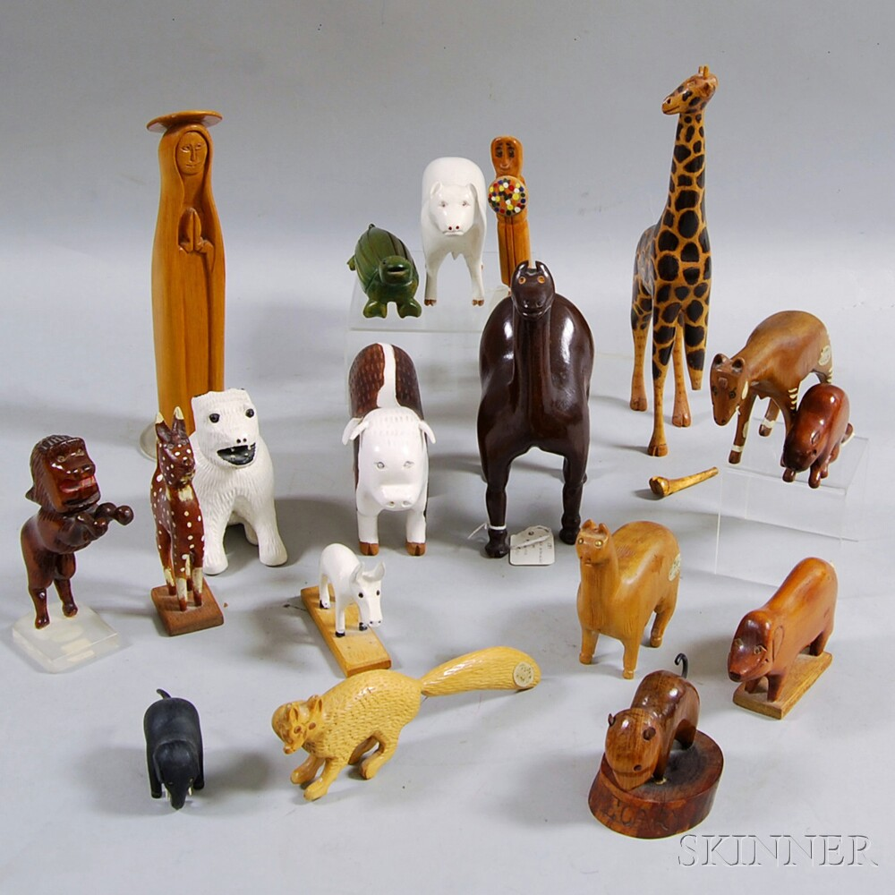 Eighteen Mostly Carved Wooden Animals