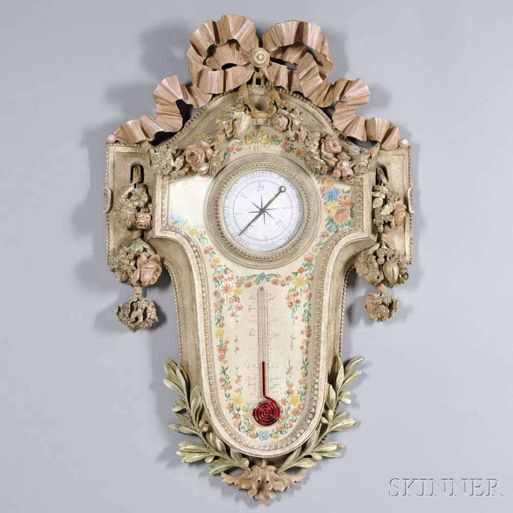 Rococo-style Painted Aneroid Barometer