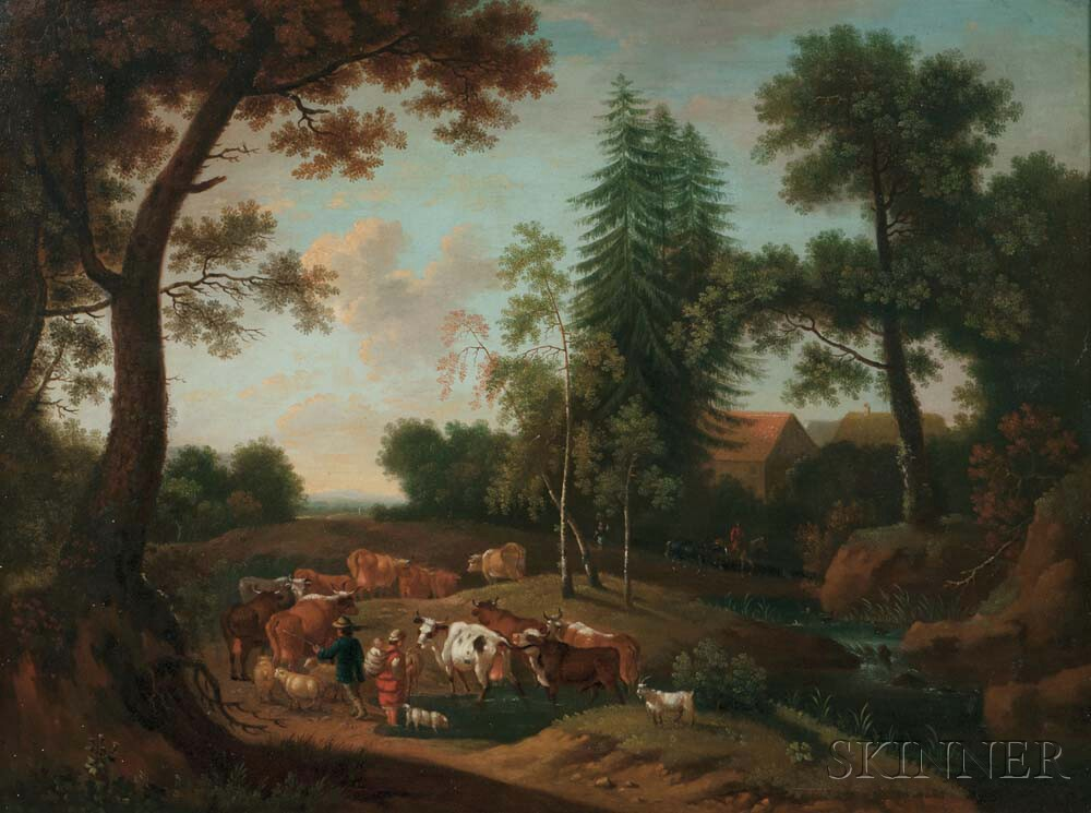 German School, 19th Century      Cattle and Herders Fording a Small Stream